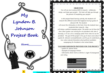 Lyndon B. Johnson: Project Based Learning Activity (Black & White)