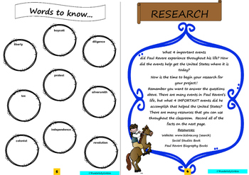 Paul Revere: Project Based Learning Activity (Black/White)