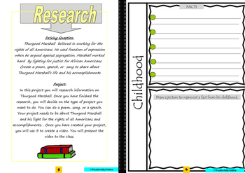 Thurgood Marshall: Project Based Learning Activity (Black & White)