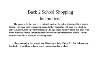 Project Based Learning-Back 2 School Shopping