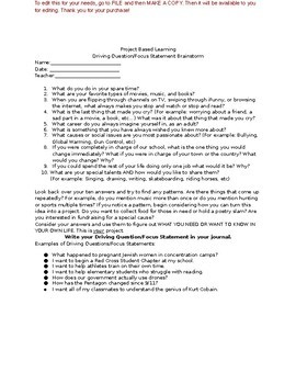 Project Based Learning Brainstorming Questionnaire