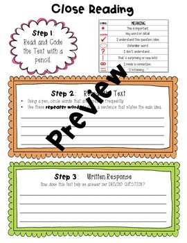 Project Based Learning Close Reading Form