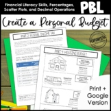 Project Based Learning: Create a Personal Budget 6th Grade Math