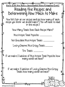 Project Based Learning-Create a Rice Krispie Cart (2nd or 3rd Grade)
