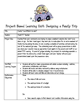 Project Based Learning:  Designing a Family Vacation