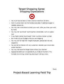 Project Based Learning Field Trip - Target Shopping Spree