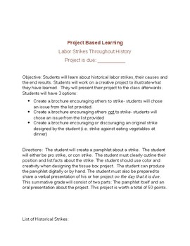 Project Based Learning- Labor Strikes