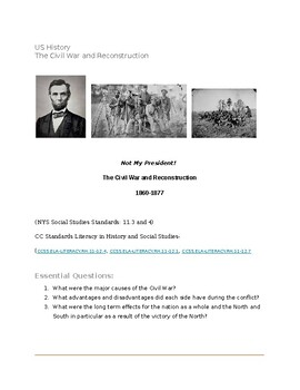 Civil War and Reconstruction- (US History)- Project- includes Google Doc link
