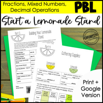 Summer Project Based Learning: Lemonade Stand Fractions, Decimals