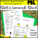 Math Project Based Learning for 5th: Lemonade Stand | Fractions, Decimals