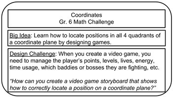 Math Challenge: Video Game Storyboard (Coordinate Planes)