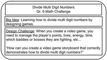 Math Challenge: Video Game Storyboard (Dividing Multi Digit Numbers)