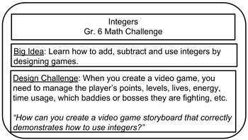 Math Video Game Storyboard: Integers
