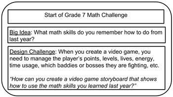 Math Video Game Storyboard: Start of Year Assessment Grade 7