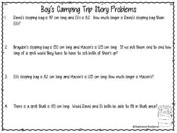 Project Based Learning-Measurement Story Problems and Making Sleeping Bags