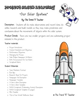 Project Based Learning:  Our Solar System (3 Projects Included)