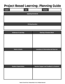 Project Based Learning (PBL): Planning Guide