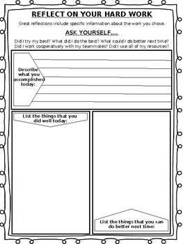 Project Based Learning (PBL) Student Self Reflection Sheet | TpT