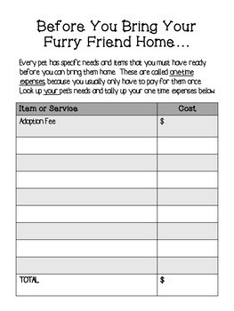 Project Based Learning - Pet Budgeting Project (Independent/Distance Learning)