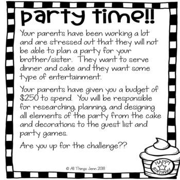 Project Based Learning-Plan a Birthday Bash