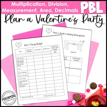 Valentine's Day Math Project-based Learning: 5th grade standards