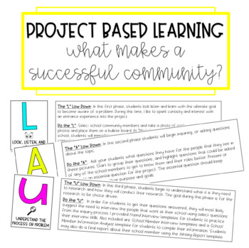 Project Based Learning: What Makes a Successful Community?