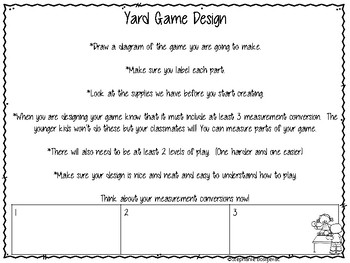 Project Based Learning-Yard Games-Coordinate Grids, Measurement Conversions