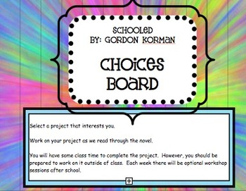 Project Based Learning with Schooled by Gordon Kornan Choices Board