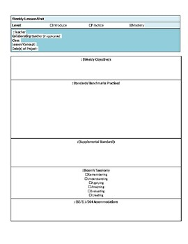 Project-Based Lesson Plan Template