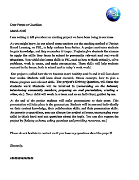 Project Based learning in P.E Parent Letter