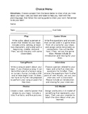 Project Choice Menu- with planning pages and scoring guides