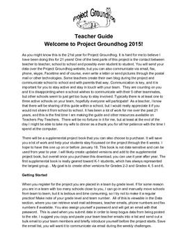 Project Groundhog 2015 Teacher Guide