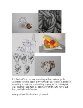 Project Handout Art Assignment: Object Drawing - Shading; Still Life Draw