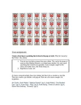 Project Handout for Art Assignment: Create Pop Art / What is Pop Art?