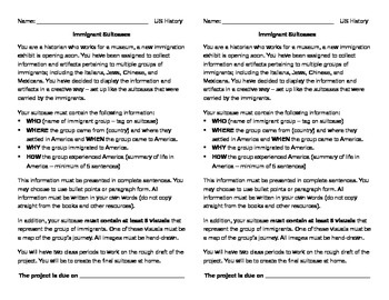 Project - Immigrant Suitcases and Rubric