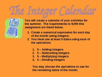 Project - Integer Calendar