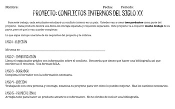 Project - Internal Conflict, Civil War, Dirty War