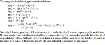 Project: Introduction to Polynomials