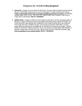 Project List for To Kill A Mockingbird