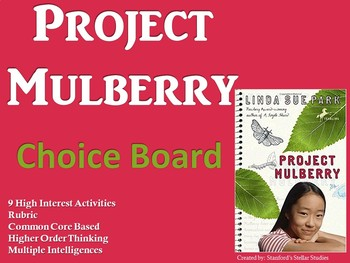 Project Mulberry Choice Board Novel Study Activities Menu Book Project Rubric