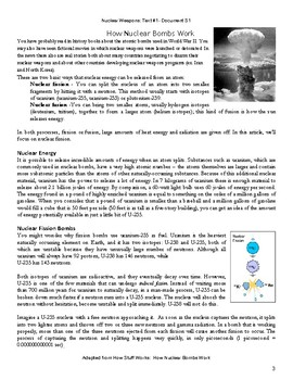 Project (Literacy) - Nuclear Chemistry: Weapons Readings