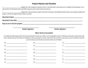 Project Planner and Timeline