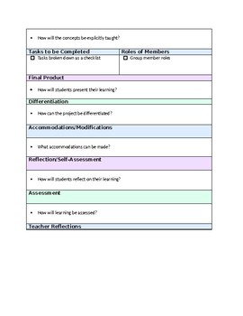 Project/Problem Based Learning Template