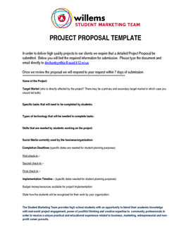 Project Proposal for student work in community