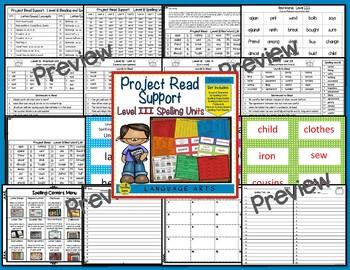 Project Read Support Bundle: Spelling Units  Levels I, II, III