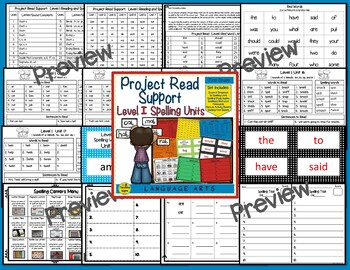 Project Read Support Bundle: Spelling Units  Levels I - VI