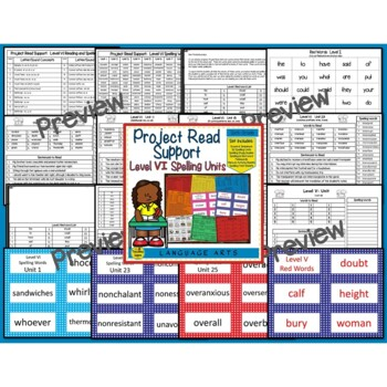 Project Read Support Bundle:  Spelling Units IV, V & VI
