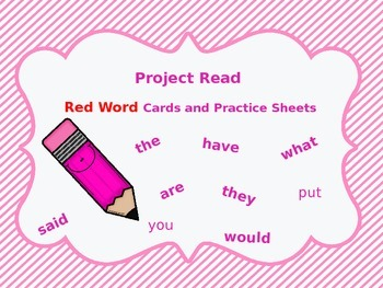 Project Read Red Word Cards and Practice Worksheets (Orton-Gillingham)