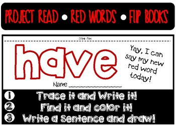 Project Read Red Word Flip Books By Sensational Special Ed Tpt