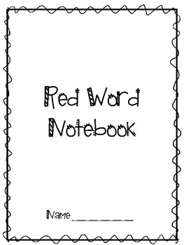 Project Read Red Word Notebook